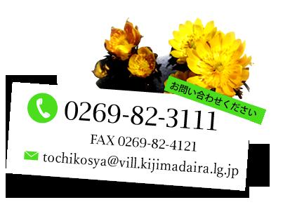 お問い合わせください:TEL 0269-82-3111 FAX 0269-82-4121 Mail tochi_kousha@kijimadaira.jp